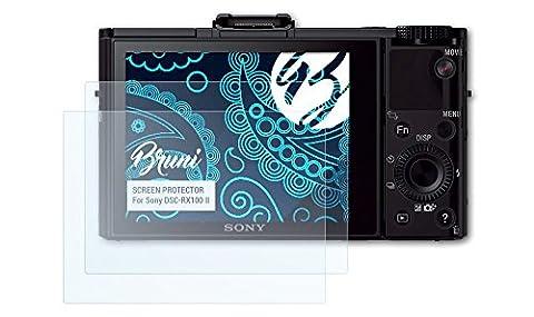 Bruni Sony DSC-RX100 II Folie - 2 x glasklare Displayschutzfolie Schutzfolie für Sony DSC-RX100 II