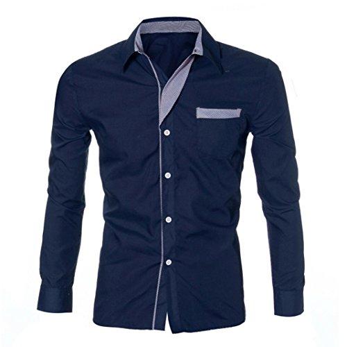 Uomo t-shirt slim fit manica lunga camicia classica manica lunga uomo,yanhoo fashion mens luxury long sleeve casual slim fit stylish dress shirts (m, marina militare)