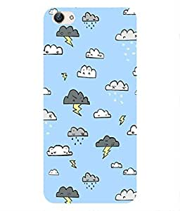 For Vivo X6 -Livingfill- Rainy Cloud patterns Printed Designer Slim Light Weight Cover Case For Vivo X6 (A Beautiful One of the Best Design with a Classic Theme & A Stylish, Trendy and Premium Appeal/Quality) (Red & Green & Black & Yellow & Other)