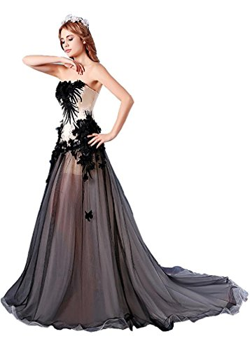 Beauty-Emily A-Linie Sweep Tailing handgemachte trägerlose Brautkleider Schwarz