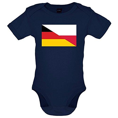 Half German Half Polish Flag - Lustiger Baby-Body - Marineblau - 3 bis 6 Monate (Polnische Flagge)
