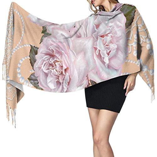 NA Strauß Blumen Perlenschmuck Winter Kaschmir Schal Soft Wrap Schal Fransen Schals Für Frauen Große Weiche Pashmina Extra Warm