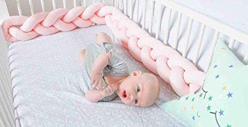 Kinderbett Knotenkissen Bettumrandung Stoßstange Baby Nestchen Weben Bettumrandung Kantenschutz Kopfschutz 1,5m/2m (2m, Pink-Weiß-Grau) - 7