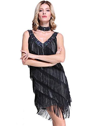 PrettyGuide Femmes Col V Profond Paillette Fente Lat¨¦rale Frange Flapper Robe De Danse Argent