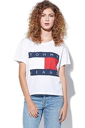 tommy hilfiger denim jeans 90 s logo t shirt damen m wei bekleidung. Black Bedroom Furniture Sets. Home Design Ideas