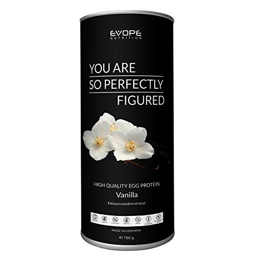 Proteinshake mit echter Vanilleschote I Eiklarproteinpulver Vanille I Low Carb Protein zur Erhaltung & Zunahme von Muskelmasse I laktosefrei I glutenfrei I 750g I EVOPE High Quality Egg - Egg Protein Vanille