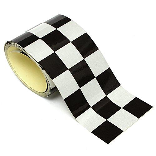 JenNiFer 3 Zoll Schwarz Weiß Checkered Flag Vinyl Decal Tape Car Motorrad Bike Tank Sticker