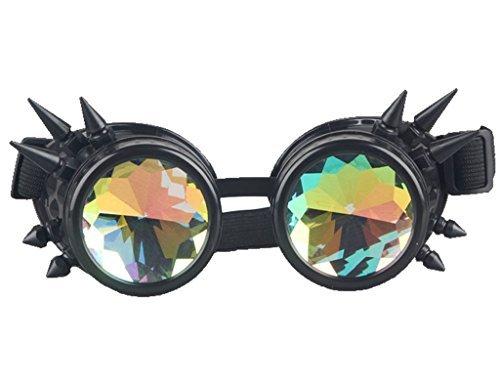 ZAIQUN Rivet Steampunk Goggles Cyber Welding Goth Cosplay Vintage Goggles Rustic Rave Party Fancy Dress (Rave Fancy Dress Kostüm)