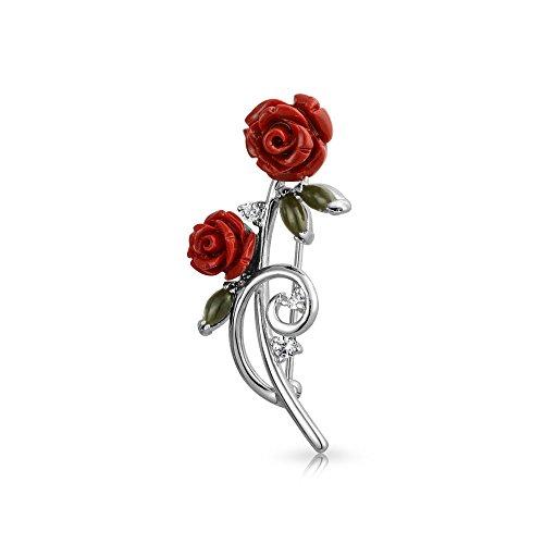 Bling Jewelry Süsse Rote Rosen Blumenstrauß CZ Akzent Broschen & Anstecknadeln Für Damen Messing Rhodiniert -