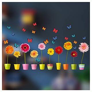 Stickers4 Blumentopf-Fensteraufkleber - 10einzelne farbenfrohe Topfblumen-Fenster-Sticker mit statischer Haftung als Deko für Fenster und Glastüren - Groß