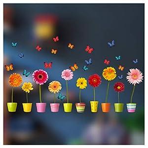 Stickers4 Blumentopf-Fensteraufkleber – 10einzelne farbenfrohe Topfblumen-Fenster-Sticker mit statischer Haftung als Deko für Fenster und Glastüren – Groß