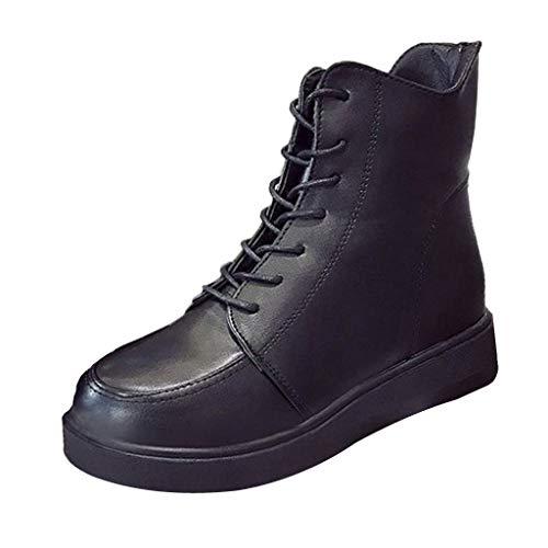 FNKDOR Schuhe Damen Arbeitsstiefel Werkzeugstiefel Kampfstiefel Seitlicher Reißverschluss Schnürung Dicker Boden Unsichtbar Innen Erhöhen(2m) Schuhe Schwarz 35.5 EU (Regen Lila Stiefel Hunter)