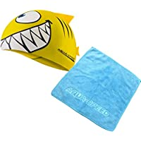 Aqua Speed - Set Shark Niños Gorro de baño + Toalla de Microfibra, Model:Set Shark & Handtuch/Amarillo