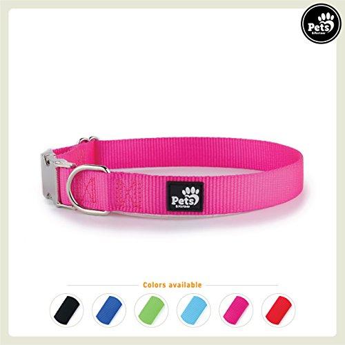 Pets&Partner Hundehalsband aus Nylon, Halsband mit Metallschnalle in verschiedenen Farben für große und kleine Hunde, XS, Pink