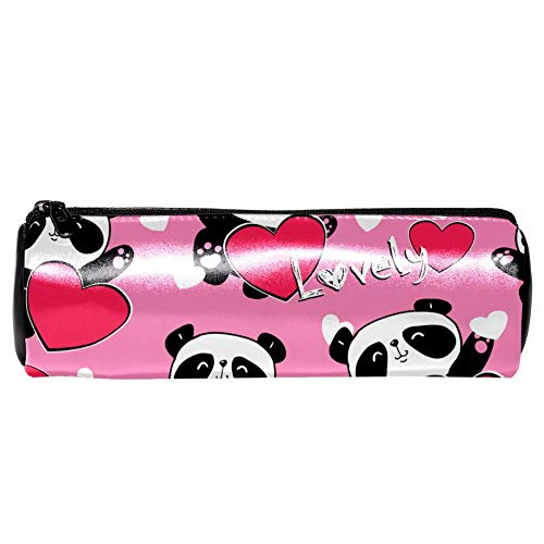 EZIOLY Valentinstag Pandas mit Herzen Leder Stifteetui Münztasche Kosmetik Make-up Tasche für Schule Arbeit Büro