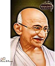 Pnf Decorative Art Print of Indian Freedom Fighter Mahatma Gandhi Wall Poster (12 inch X 18 inch, Rolled) (Lea