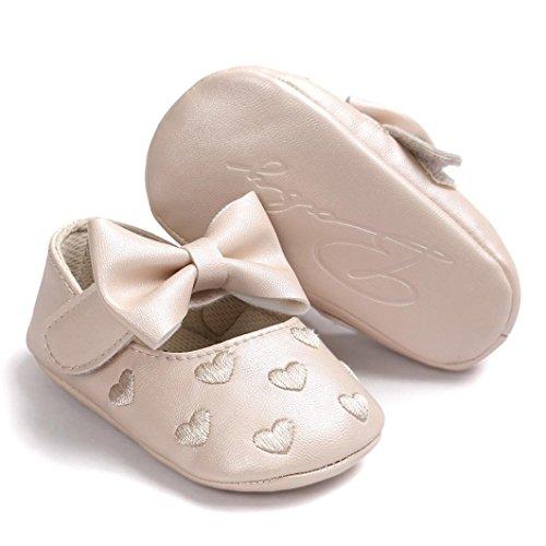 Sapatilha Macia Rosa Feitong Sapatos Couro Cáqui Bowknot Bebê Criança De 11 Sola Antiderrapante w4zqCX