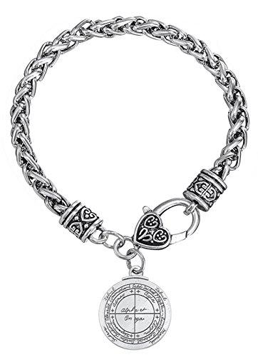VASSAGO Pulsera de cadena de amuleto de doble cara con medallón para la buena suerte y llave de solomón