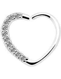 OUFER Body Jewelry 16 Gauge 18Kt Oro Blanco Chapado Claro CZ En forma de corazón Cierre Derecho Daith Cartilage Tragus Pendientes Hoop