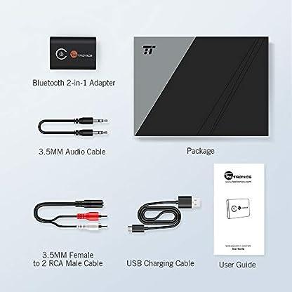 TaoTronics-Bluetooth-Adapter-Audio-50-Transmitter-Empfnger-2-in-1-Sender-Receiver-Adapter-mit-35mm-Audio-Kabel-fr-Kopfhrer-HiFi-Lautsprecher-Radio-Auto-TV-PC-Laptop-Tablet-MP3-MP4