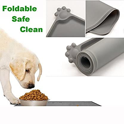 Dog Feeding Mat, Natural Silicone Waterproof Pet Food Mat, Non Slip Dog Bowl Placemat for Cat,Pets Dogs Bowls Mat Large… 4
