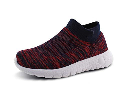 JABASIC Kinder Freizeitschuhe Jungen und Mädchen atmungsaktiv gestrickt Socken Sneakers (31,Marine/rot) -