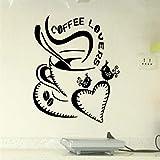 zxddzl Herz Kaffeetasse Große Liebe Abnehmbare Wandaufkleber Für Mode Wohnzimmer Kindergarten Kinder Küche Vinyl Aufkleber Wandbilder 42 * 45 cm