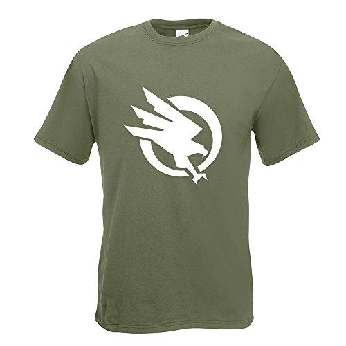 KIWISTAR - Global Defense Initiative T-Shirt in 15 verschiedenen Farben - Herren Funshirt bedruckt Design Sprüche Spruch Motive Oberteil Baumwolle Print Größe S M L XL XXL Olive