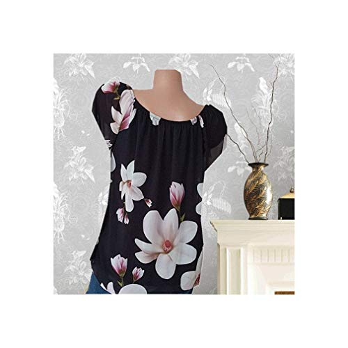 Plus Size Loose Chiffon Short Sleeve Women Blouses V Neck Floral Print Shirt Casual Tops -