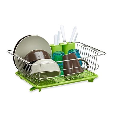 Relaxdays Egouttoir à vaisselle en inox porte couverts vert bac