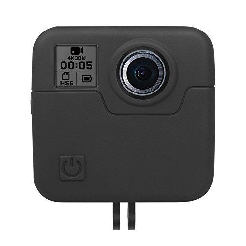 Kupton Silikon Hülle für GoPro Fusion, Silikon Gehäuse Behälter Schale Hülle, Gummi Kappe Schutz Zubehör für GoPro Fusion 360-Grad-Kamera - Schwarz