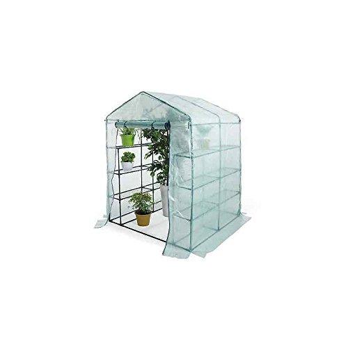 Serra da giardino a casetta a 8 ripiani + telo PE retinato dimensioni 140x72.5x195