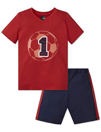 Schiesser Jungen Fußball Kn Anzug kurz Zweiteiliger Schlafanzug, Rot 500, (Herstellergröße: 116)