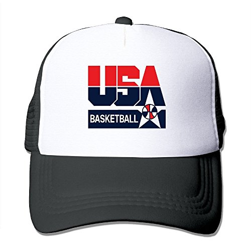 Hittings Nerd Team USA Basketball Adult Nylon Adjustable Mesh Hat Baseball Caps Ash One Size Fits Most Black