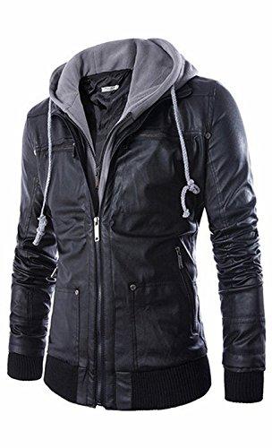 UMilk Herren Premium Pu Faux Leder Moto Biker Jacke mit abnehmbarer Kapuze (Leder Distressed Italienischen Schwarz Jacke)