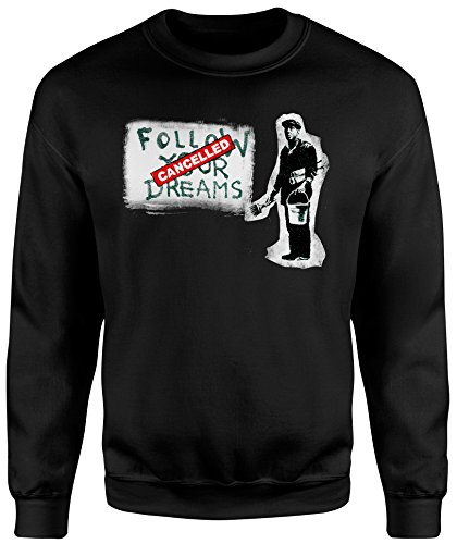 Felpa Unisex Banksy Follow Your Dreams - Felpa Set in girocollo LaMAGLIERIA Nero