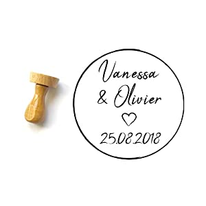 Personalisierter Stempel mit Namen und Datum, Hochzeit Papeterie, klassisch stile, runde Form 4 cm
