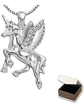 CLEVER SCHMUCK-SET Silberner Anhänger Einhorn 23 mm beidseitig figürlich glänzend mit vielen Zirkonias und Kette...