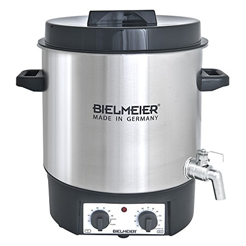Bielmeier 495400 Einkoch und Glühwein-Vollautomat, 27 L, 12 Zoll Edelstahl-Auslaufhahn, 1800 W, BHG 495.4