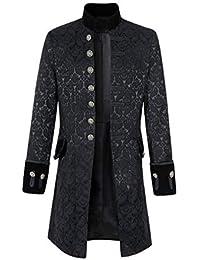 daefd0cf4266 Herren Steampunk Vintage Mantel Mode Slim Langen Abschnitt Stehkragen Shirt  Solid Color Langarm Bluse mit Knopf