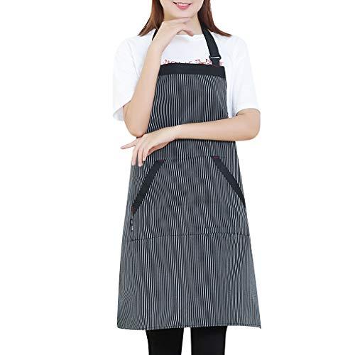 HCFKJ Frauen-Streifen-Koch-Küchen-Restaurant-Schellfisch-Schürzen-Kleid-Taschen-Schürze (Für Koch-schürze Frauen)