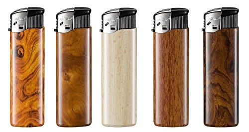 5 Stück Feuerzeuge in Holzoptik #Für Kerzen, Öfen, Kamine aber auch für Zigarren- und Pfeifenraucher # Flammregulierung + (höher) und - (niedriger) # ACHTUNG! Außerhalb der Reichweite von Kindern aufbewahren! (Pfeifenraucher)