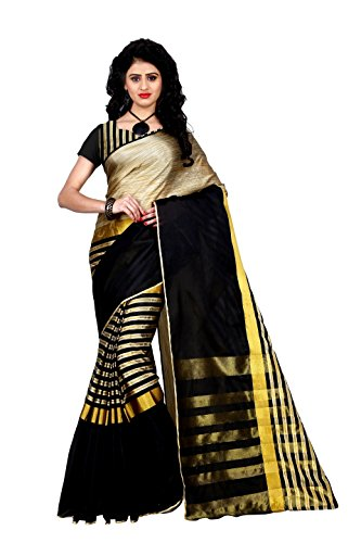 Trendz Women's Tussar Silk Saree With Blouse Piece (Tz_Arun_Black_Black)