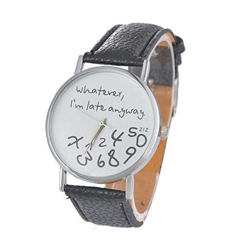 Ziffer Batterie (Souarts Damen Schwarz Arabische Ziffern Armbanduhr Quartz mit Batterie)