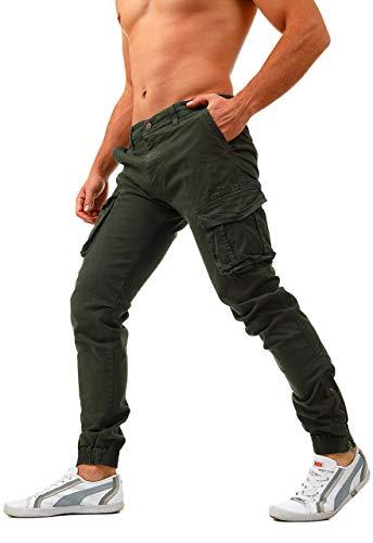 Instinct pantaloni uomo cargo con tasche laterali tasconi jeans slim fit elastico alle caviglie militari zip (28/42 it, verde 266lw)