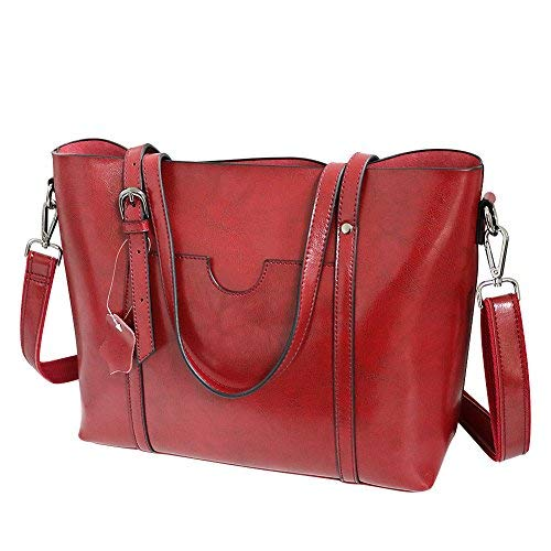 Echt-leder-handtasche Tote Bag (Klighten Damen Umhängetasche Ledertasche -Vintage Echtes Leder Messenger Bag Tote Schultertasche Handtasche Große Kapazität, Rot)