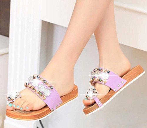 Diamant wulstige Klippzehe weiblichen Pantoffeln Sandalen weiblichen Sommer der beiläufigen Frauen Sandalen und Pantoffeln Frauen Hausschuhe Purple