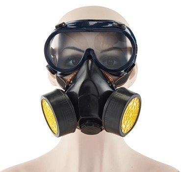 Menschen Schwarze Die Für Kostüme Besten (Babimax Atemschutzmaske Schwarz Halbmaske Sicherheitsmaske mit Brillen Aktivkohle mit Ausatemfilter anti-Pestizid anti-Staub anti- Formaldehyd Lackieren in der chemischen Industrie in der)
