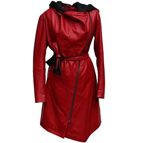 Ledermantel - EWA-BIS Hochwertiger Damen Wintermantel Größe M, Farbe Rot