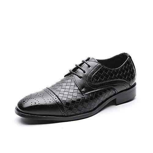 LANSHAY Jungen Mode Oxford Schuhe Männer Relief Plaid Mikrofaser Leder atmungsaktiv gefüttert for Dating Kleid rutschfest Büro (Farbe : Schwarz, Größe : 39EU) -